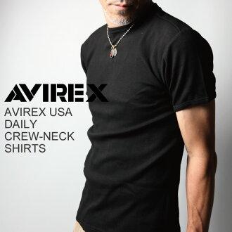 AVIREX (avirex/avirex) 日常圓領 T 縫製的襯衣上衣內固色短袖男裝 6143502 P25Apr15