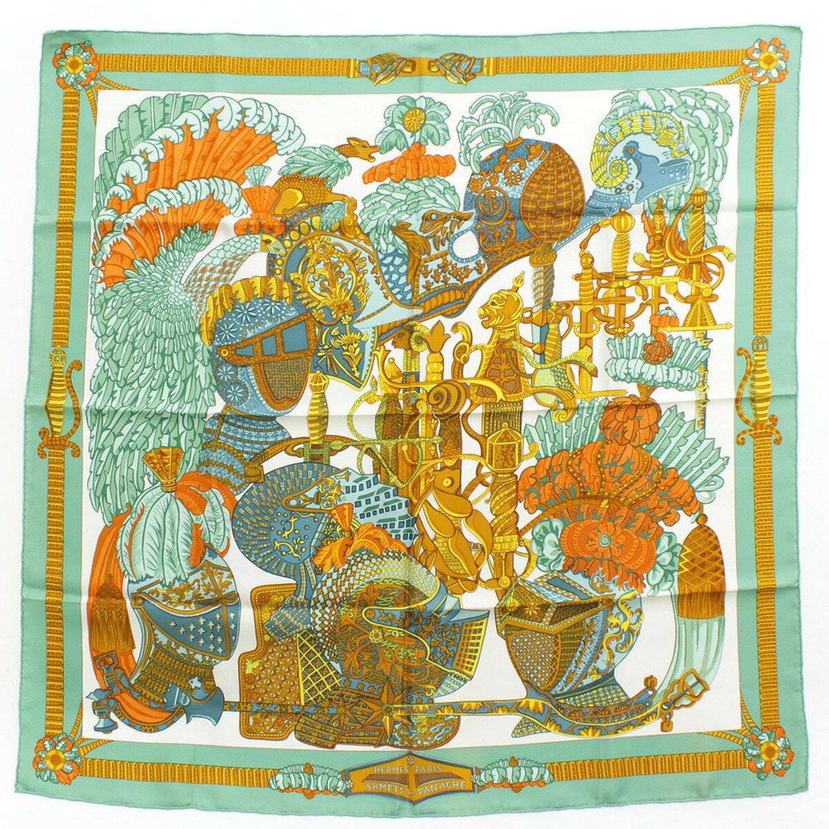【エルメス】Hermes カレ90 シルクスカーフ ARMETS en PANACHE 羽飾りの騎兵兜 【中古】【鑑定済・正規品保証】26686