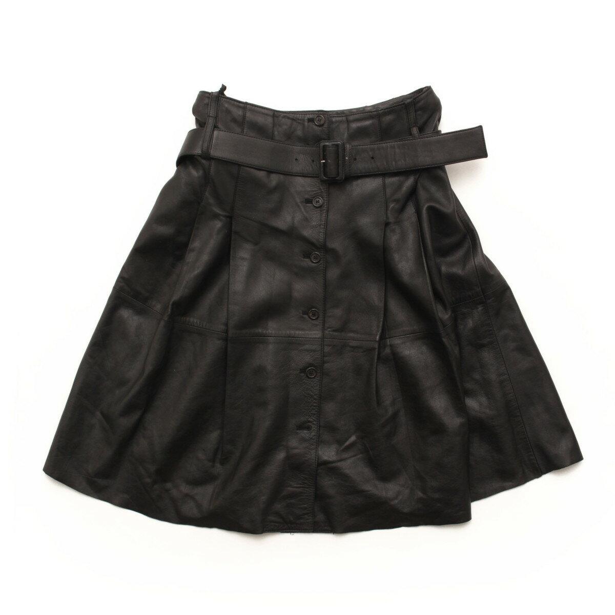 【プラダ】Prada ウエストベルト付 レザー フレア スカート ブラック 44 【中古】【鑑定済・正規品保証】32570