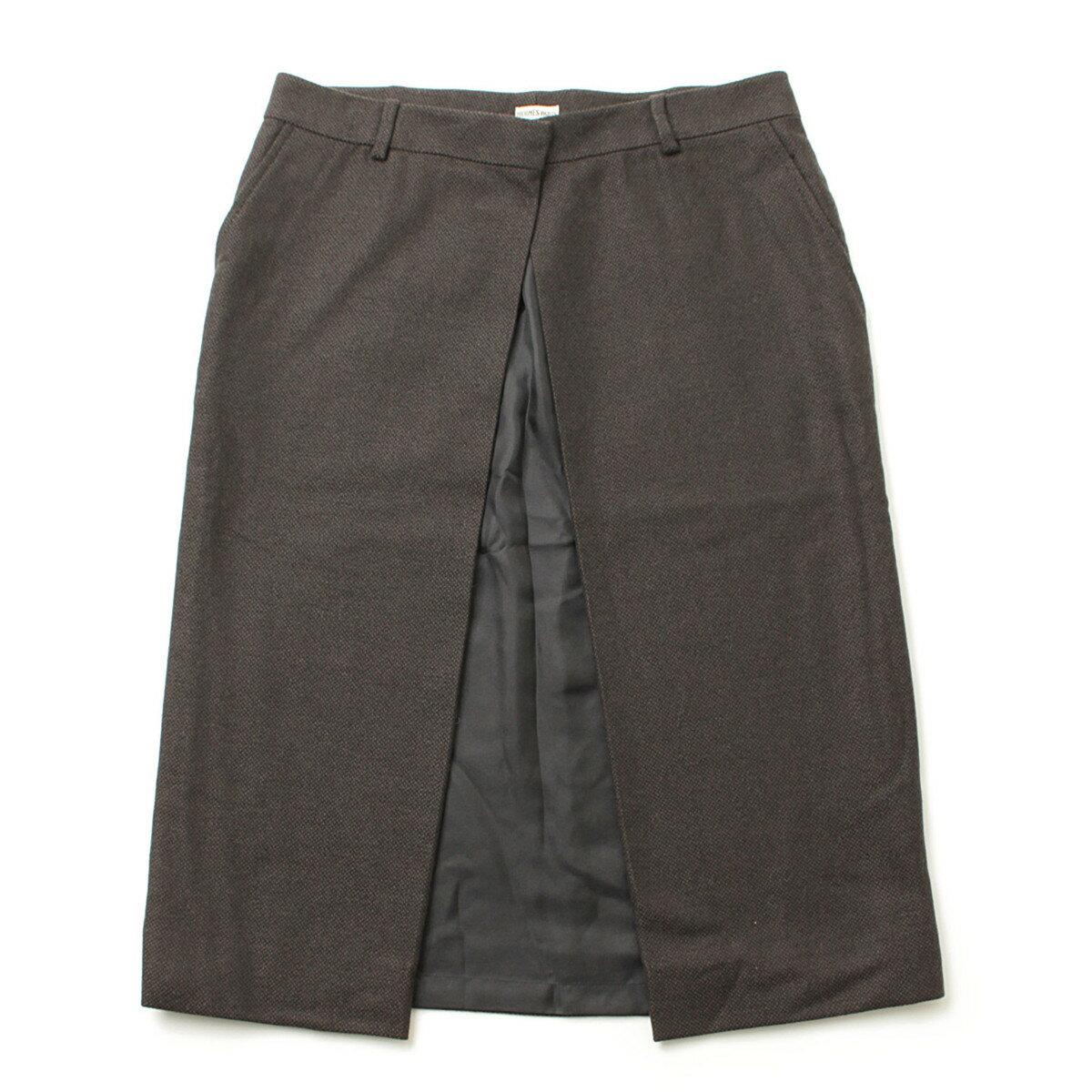 【エルメス】Hermes カシミヤ ラップ スカート ブラウン×グレー 38 【中古】【鑑定済・正規品保証】【送料無料】38632
