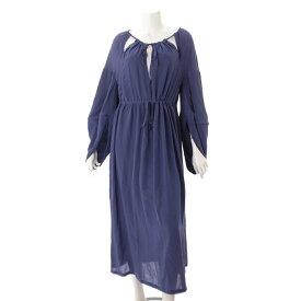 4765645025f56  フェンディ Fendi シルク ラグラン袖 ドレス ワンピース ブルー 42 未使用 中古