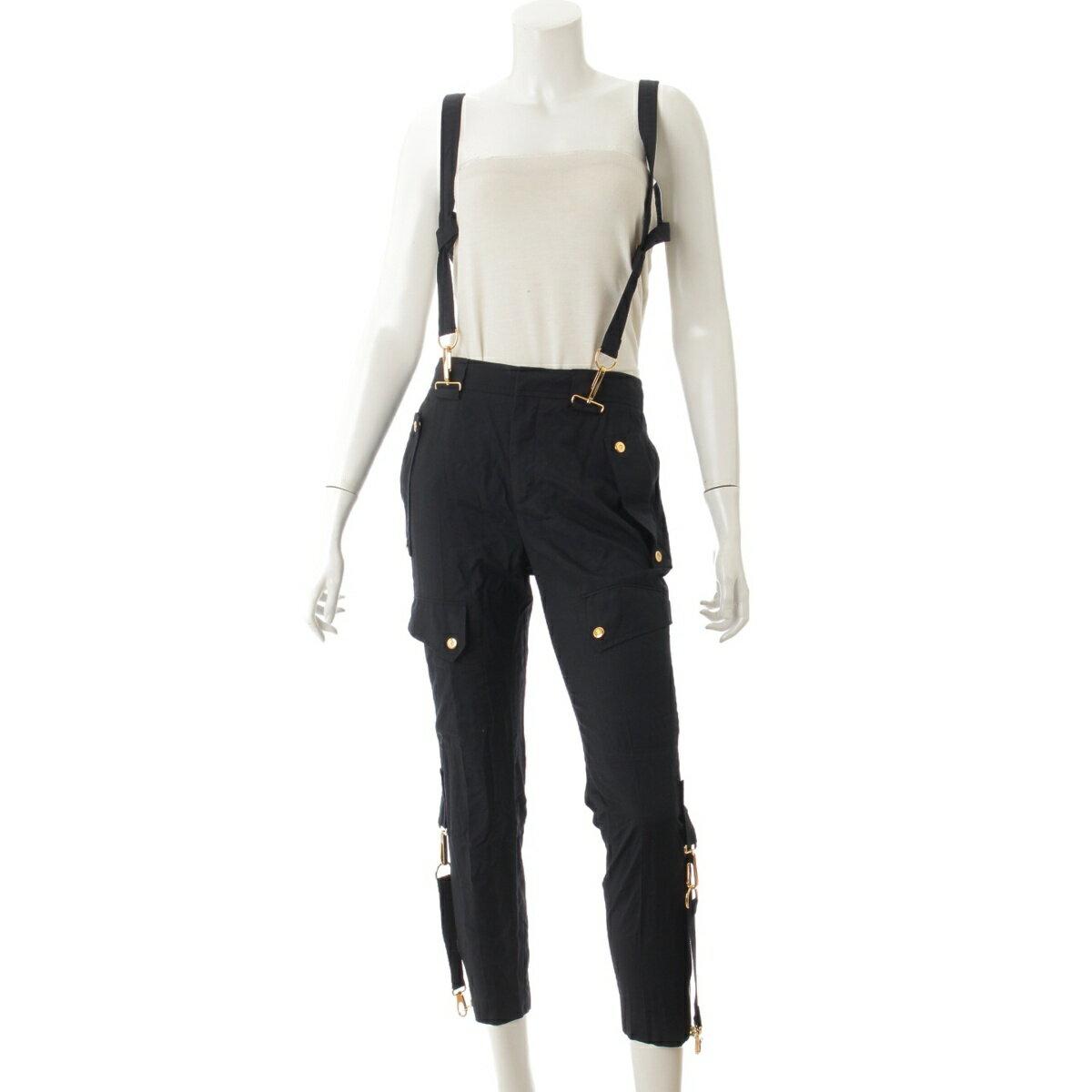 【グッチ】Gucci ストラップ パンツ ブラック 36 【中古】【鑑定済・正規品保証】60471
