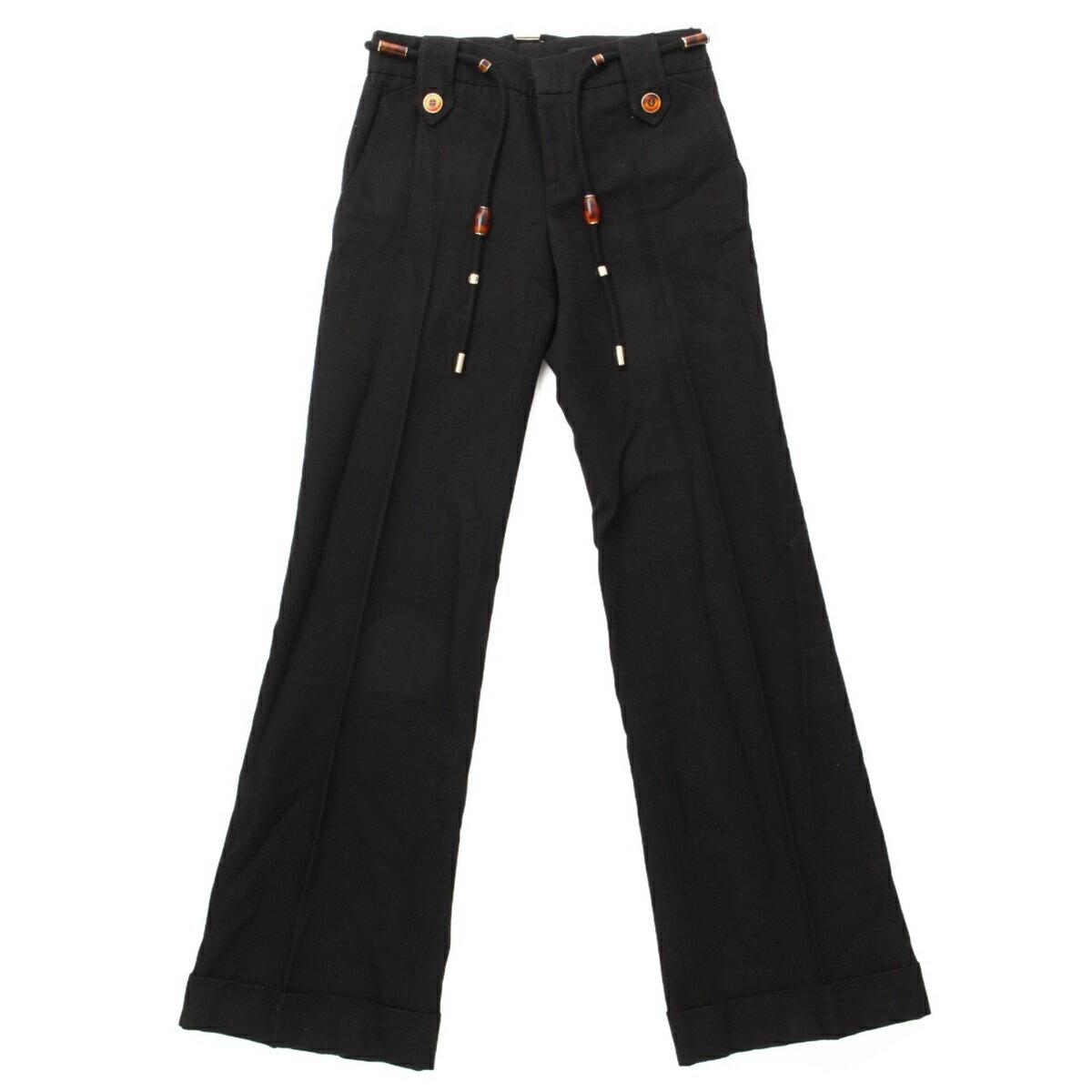 【グッチ】Gucci 紐ベルト付き パンツ ブラック 36 【中古】【鑑定済・正規品保証】60505