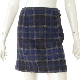 【ルイヴィトン】Louis Vuitton ウール チェック 台形 スカート ネイビー 34 【中古】【鑑定済・正規品保証】71119