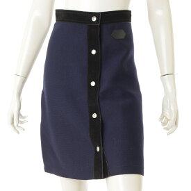 【ルイヴィトン】Louis Vuitton フロントボタン ウール スエード スカート ネイビー XS 【中古】【鑑定済・正規品保証】71606