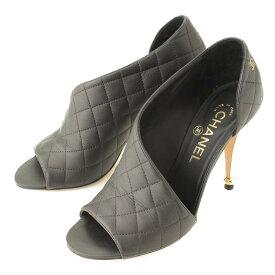 【シャネル】Chanel ココマーク マトラッセ オープントゥ サンダル ブラック 36 1/2 【中古】【鑑定済・正規品保証】103538