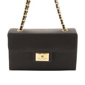 【シャネル】Chanel ココマーク フラップ サテン チェーン ショルダーバッグ ブラック ゴールド 【中古】【鑑定済・正規品保証】120311