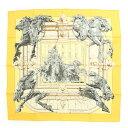 【エルメス】Hermes カレ90 シルク スカーフ LA FONTAINE DE BARTHOLD バルトルディの泉 イエロー 【中古】【鑑定済・正規品保証】...