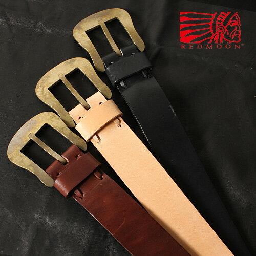 REDMOON レッドムーン ベルト 真鍮 オーバル プレーン S-VB-PB-O[メンズ 男物 本革 サドルレザー 日本製 職人 匠 手作り おしゃれ かっこいい 大人 彼氏 男性 プレゼント]