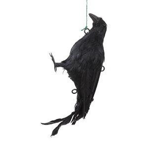 カラスよけ カラス撃退 カラス対策に 吊り下げ羽毛カラス 設置金具付き 屋上 屋根 ベランダ ゴミ捨て場 カラスの死骸に見せかけてカラスを撃退 にせカラス [全長32×高さ13×幅10]【あす楽】 |