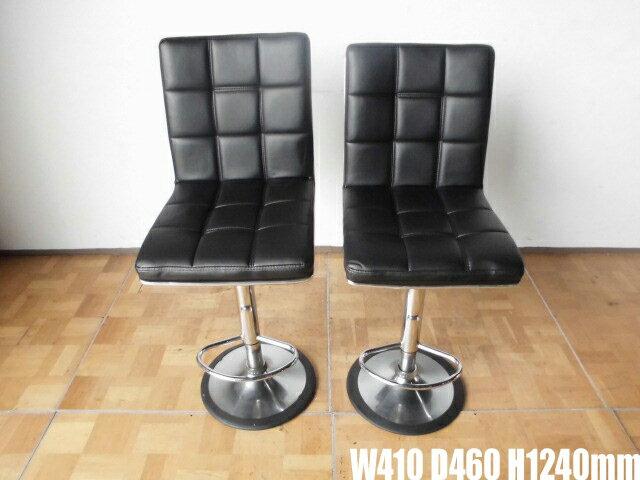 【中古】厨房 店舗用カウンター椅子2脚セットW410 D460 H1240mm