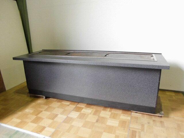 【中古】厨房 業務用鉄板カウンター LPガスプロパン 圧電式W2400×D800×H750mm鉄板焼 お好み焼 焼そば ガスホース D