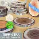 【新タイプ登場】Natural Wood Cup Pads/ウッドコースター/TREE4TEA【切り株】 6pcsセット/5type/木製/送料割引対象 木目 ...