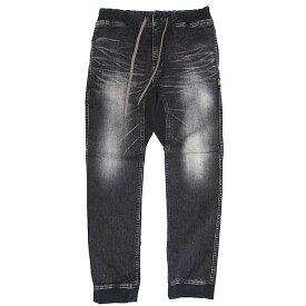 GO HEMP ゴーヘンプ レディース SLIM RIB PANTS BLACK DENIM (ユーズドウォッシュ)(ブラックデニム スリムリブパンツ)