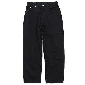 GO WEST ゴーウェスト|VINTAGE PIQUE LOOSE TAPERED PANTS (ブラック)(テーパードパンツ)