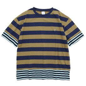 THE PARK SHOP ザ パークショップ TRICK BORDER TEE (キャメル)(Tシャツ)