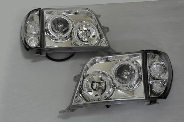 「限定5セット」【激安セール】「インナーメッキ」ランドクルーザー90系プラド CCFLイカリングヘッドライト &コーナーランプセット インナーメッキ