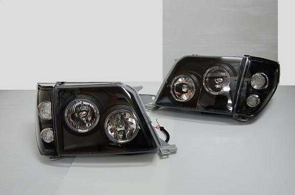 「限定5セット」【激安セール】「インナーブラック」ランドクルーザー90系プラド CCFLイカリングヘッドライト &コーナーランプセット ・インナーブラック