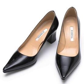 21.5cm/23cm【ROSSINI】ラインのキレイなポインテッドに太ヒールが登場♪シンプルなブラックエナメル♪ヒール6cm 黒 日本製 チャンキーヒール 21.5 25.5