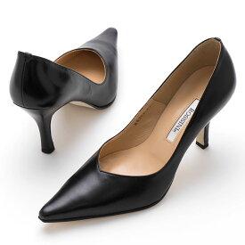 【ROSSINI】ポインテッドトゥでラインのきれいなプレーンパンプス/8cmヒール ROSSINI フォーマル 靴 シンプル キレイ 綺麗 日本製 21.5 25.5 レディース 履きやすい ブラック 黒