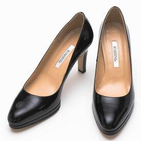 【ROSSINI】シンプルなブラックエナメル☆ちょっとだけ厚底に♪ストームつきの丸すぎないラウンドトゥのスッキリしたパンプス/BLE・ヒール9cm 黒 Black フォーマル 靴 キレイ 綺麗 日本製 21.5 25.5 レディース