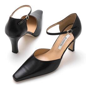 【ROSSINI】キレイにみえるセパレートのアンクルストラップ/8cmヒール ROSSINI フォーマル 靴 シンプル キレイ 綺麗 日本製 レディース ブラック 黒 カーフ