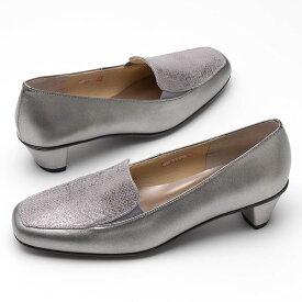 24.5cm【DonCarlos】履き口ゴムで履きやすい♪すっきりラインの異素材コンビ☆ソフトレザーと低反発インソール☆コンフォートのローヒールローファー♪/シルバー・ヒール4cm