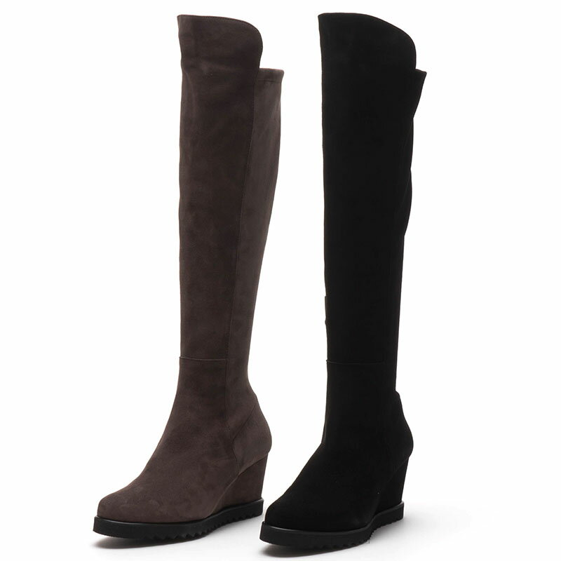 【Perlato】ストレッチで安心☆軽く快適な履き心地♪ポルトガル製☆ミドルヒールのロングブーツ/ヒール3cm