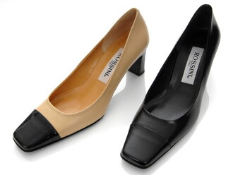 ☆21.Enamel of the ♪【 ROSSINI 】 square toe which I can make to 5cm - 25.5cm even if ☆ is out of stock and smooth の combination pumps / heel 6cm
