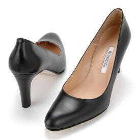 【ROSSINI】待望のブラックスムースレザー♪丸すぎないラウンドトゥのスッキリしたパンプス/カーフ・ヒール8cm 黒 Black フォーマル 靴 シンプル キレイ 綺麗 日本製 21.5 25.5 レディース
