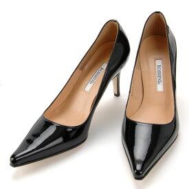 【ROSSINI】人気のポインテッドトゥをリニューアル☆エナメル素材☆ラウンドカットのラインのきれいなパンプス/BLE、ヒール8cm 黒 Black フォーマル 靴 キレイ 綺麗 日本製 25.5 レディース