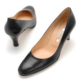 【ROSSINI】大人っぽいラウンドトゥのきれいなパンプス/カーフ・ヒール6cm 黒 Black ブラック フォーマル 靴 シンプル キレイ 綺麗 日本製 21.5 25.5 レディース