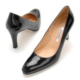 【 ROSSINI】シンプルにブラックエナメル♪丸すぎないラウンドトゥのスッキリしたパンプス/エナメル・ヒール8cm 黒 Black フォーマル 靴 キレイ 綺麗 日本製 21.5 25.5 レディース