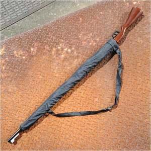 雨傘 ライフル アンブレラ 木製ストック調 8本骨 ミリタリー