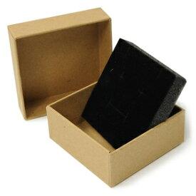 ギフトボックス 貼り箱 8×8×3.5cm アクセサリーケース [ ブラウン / 1個 ] プレゼントボックス ジュエリーBOX 厚紙 スポンジ付き ラッピング パッケージ 無地 収納