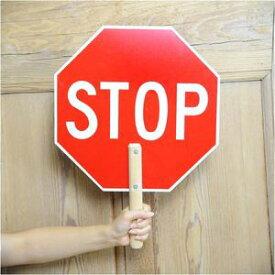 サイン看板 STOP 木製ハンドル付 stop paddle sign カンバン パドルサイン サインボード インテリア アメリカン雑貨