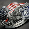 Buckle sheriff for the buckle American buckle USA buckle BUCKLE men exchange for the belt buckle police Star-Spangled Banner eagle REAL AMERICAN HERO rial American hero eagle flag belt