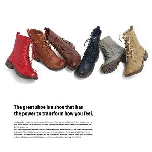 ブーツレディースショートブーツエンジニアブーツ編み上げブーツ袴ブーツ編み上げ赤レースアップ靴黒ミリタリーワークブーツ春ブーツ厚底軽い軽量ナチュラルブーツヒールラウンドトゥレースアップブーツ夏子供疲れにくい大きいサイズas530【P】