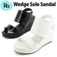 サンダルウェッジソールサンダル歩きやすい◆ff171◆(ホワイト白/ブラック黒)大きいサイズ3L(25.0cm)まで前厚厚底安定感痛くないレディース靴