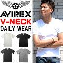 AVIREX(アビレックス) リブ素材 Vネック 半袖Tシャツ 無地 メンズ 半T カットソー トップス ブイネック 617351 6143501 【楽ギフ_包装】