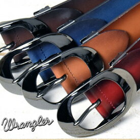 Wrangler ラングラー グラデーション レザーベルト 本革 日本製 ブラックニッケルバックル メンズ カット可 WR4190 【楽ギフ_包装】