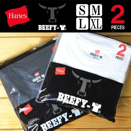 HANES(ヘインズ) BEEFY 2枚組 パックTシャツ 半袖 クルーネック 無地 半袖Tシャツ 肌着 メンズ 半T インナー 2枚セット 丸首 カットソー 白 黒 ホワイト ブラック ビーフィー 2P 下着 H5180-2 【楽ギフ_包装】