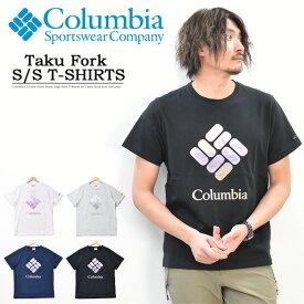 Columbia コロンビア タク フォーク ショート スリーブ Tシャツ ロゴプリント 半袖 Tシャツ メンズ キャンプ アウトドア プリントTシャツ 半袖Tシャツ ロゴTシャツ PM1896