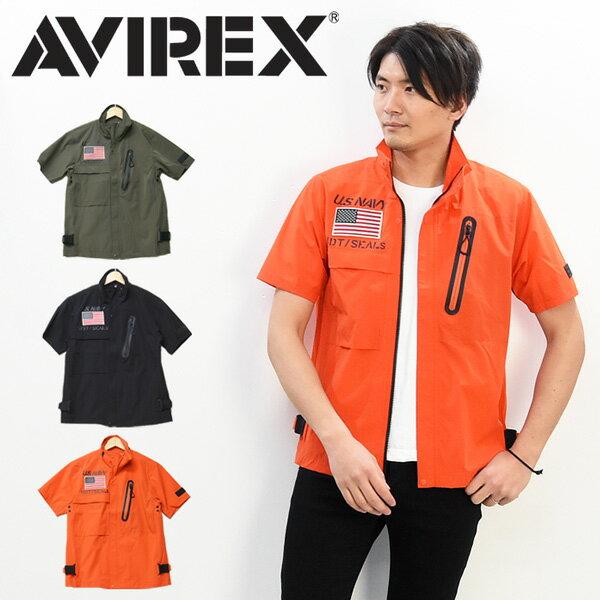 AVIREX アビレックス 半袖 ジップシャツ FROGMAN 半袖シャツ ライトアウター メンズ ナイロンジャケット フロッグマン アヴィレックス 送料無料 6195096
