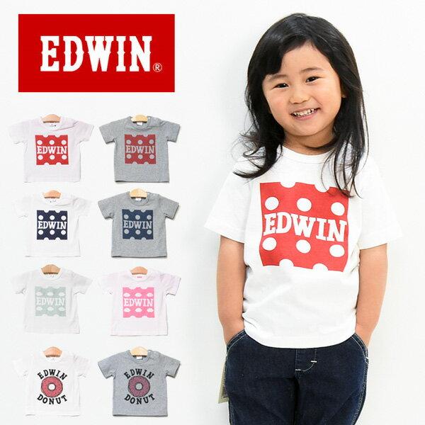 EDWIN エドウィン キッズ ベビー プリント 半袖 Tシャツ 80cm 90cm 100cm カットソー 半T 男の子 女の子 トドラーサイズ ETK007
