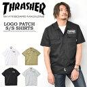 THRASHER スラッシャー ワッペン付き 半袖 ワークシャツ メンズ レディース ユニセックス 半袖シャツ ワッペンシャツ …