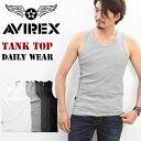 AVIREX(アビレックス) リブ素材 レギュラー タンクトップ 無地 ワイドバック メンズ 半T カットソー ノーマルタンクト…