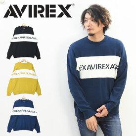 AVIREX アビレックス 切り替え ロゴニット ビッグシルエット メンズ ワイドシルエット ドロップショルダー アヴィレックス セーター 大きめ 送料無料 6194024