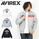 AVIREX アビレックス スタンドジップスウェット VFA-101 ジップジャケット メンズ スタンドジャケット ライトアウター スウェットジャケット プリント アヴィレックス 送料無料 6103395