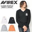 AVIREX アビレックス ミニワッフル素材 プリントTシャツ Vネック 長袖 Tシャツ トップガン ロンT 長T メンズ アヴィレックス サーマル素材 長袖Tシャツ 送料無料 6103542